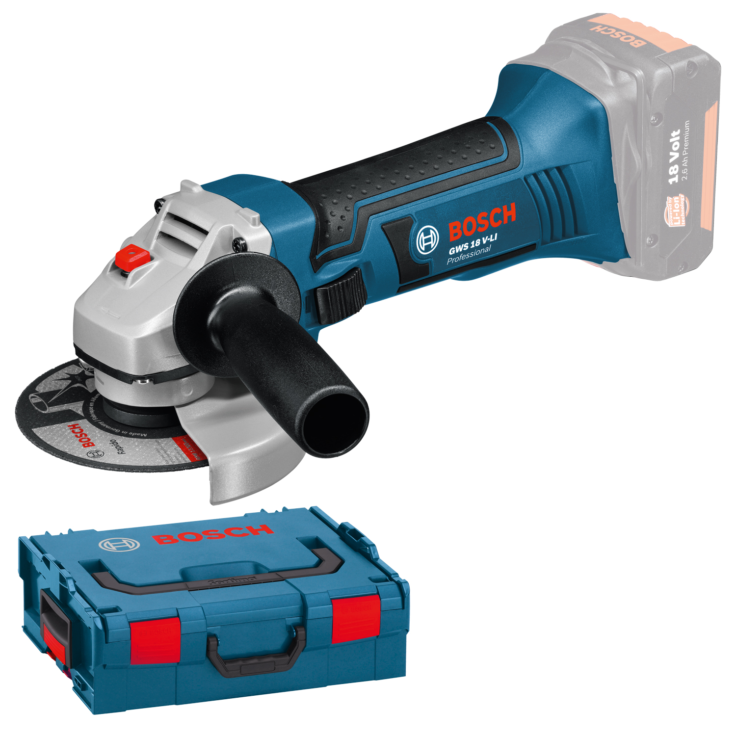 cordless angle grinder bosch gws 18 125 v li professional with l boxx 060193a308. Black Bedroom Furniture Sets. Home Design Ideas